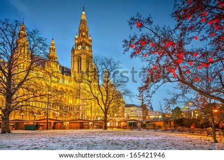 Vienna Town Hall at dusk - stock photo