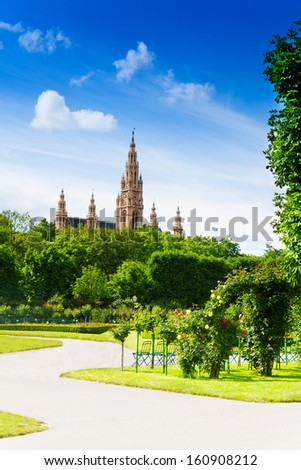 Vienna town hall, view from the park in capital of Austria - stock photo