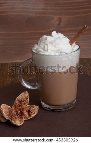 Viennese coffee in glass cup with whipped cream - stock photo