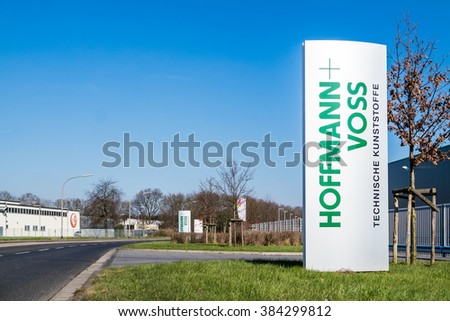 VIERSEN / GERMANY - MARCH 01 2016 : Hoffmann-Voss company sign in the sun