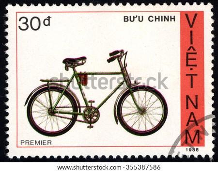 VIET NAM - CIRCA 1988: A stamp printed in Viet Nam shows Bicycle Premier, circa 1988 - stock photo