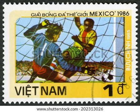 VIET NAM - CIRCA 1985: A stamp printed in Viet Nam shows Goalie from side, dedicated 1986 World Cup Soccer Championships, Mexico City, circa 1985 - stock photo