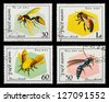 VIETNAM - CIRCA 1982: A set of postage stamps printed in VIETNAM shows bees, series, circa 1982 - stock photo