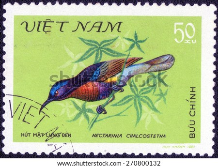 "VIETNAM - CIRCA 1981 : A stamp printed by Vietnam shows bird , from the series ""Songbirds"" , circa 1981.  - stock photo"