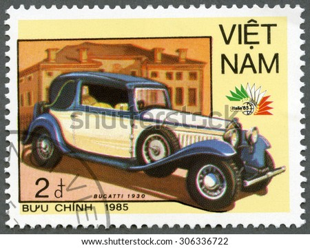 VIETNAM - CIRCA 1985: A stamp printed in Vietnam shows Bugatti, 1930, series Vintage Italian cars, circa 1985 - stock photo