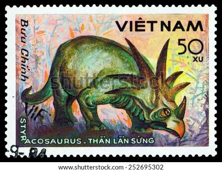 VIETNAM - CIRCA 1984: A stamp printed  in Vietnam  shows  dinosaur Styracosaurus, series  Dinosaurs, circa 1984  - stock photo