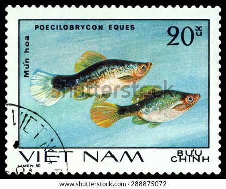 VIETNAM - CIRCA 1980: A stamp printed in Vietnam, shows  fishes Poecilobrycon eques, Ornamental Fish, circa 1980 - stock photo