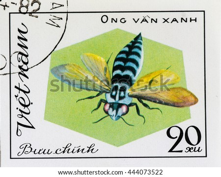 VIETNAM - CIRCA 1982: A stamp printed in Vietnam shows Insect van xanh, circa 1982 - stock photo