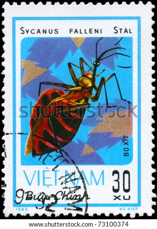 "VIETNAM - CIRCA 1982: A Stamp printed in VIETNAM shows the image of a Assassin Bug with the description ""Sycanus falleni Stal"" from the series ""Chinch Bugs"", circa 1982"