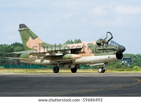 Vietnam-era A-7 Corsair fighter jet - stock photo