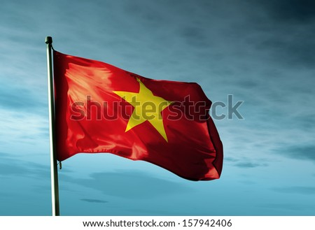 Vietnam flag waving in the evening - stock photo