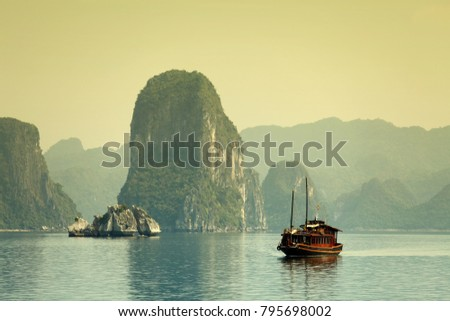 Vietnam, Halong Bay Tour. Halong Bay is UNESCO World Heritage Site