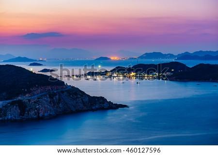 VIETNAM , JUL 20 2016 : Beautiful panoramic landscape of Vietnam beach, Vinh Hy bay, Ninh Thuan, group of boat anchor at fishing village, fantastic holiday when travel at Viet Nam in summer or spring