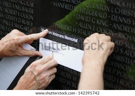 Vietnam memorial in Washington DC - stock photo