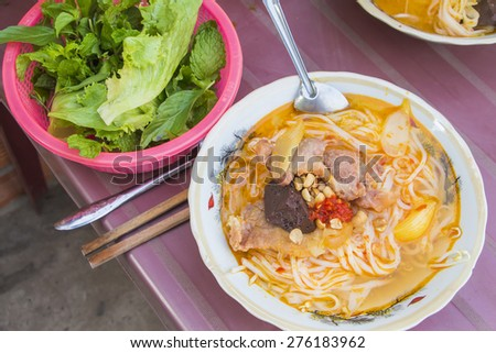 Vietnam noodle Set in Pham Ngu Lao Street Ho Chi Minh - stock photo