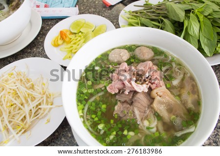 Vietnam noodle Set in Pham Ngu Lao Street Ho Chi Minh - stock photo