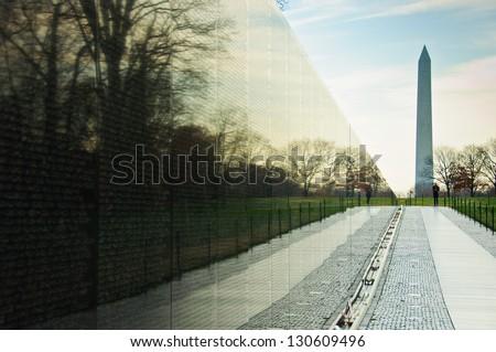 Vietnam War Memorial with Washington Monument - stock photo