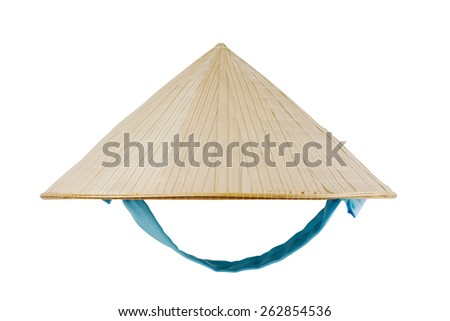 Vietnamese conical hat with blue ribbon isolated on white, studio shot