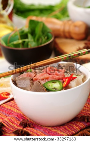 Vietnamese food pho tai or noodle - stock photo