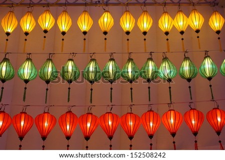 Vietnamese lantern. Lamp or light or lantern of Vietnam. - stock photo