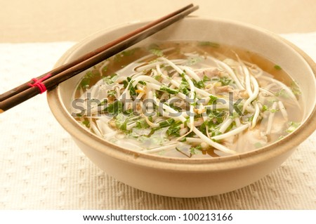 vietnamese pho soup, an ethnic meal of chicken soup, broth, bean sprouts, noodles and basil or cilantro floating on top - stock photo