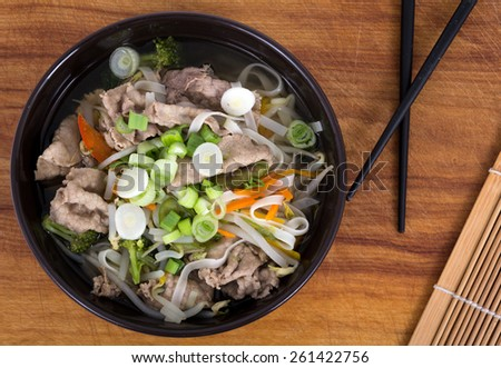 Vietnamese Pho soup bowl - stock photo