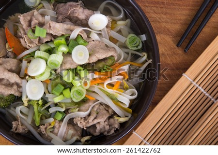 Vietnamese Pho soup bowl - stock photo