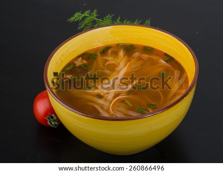 Vietnamese soup Pho with rice noodle and spices - stock photo