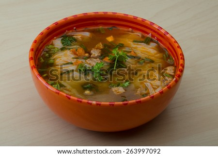Vietnamese Soup Pho with spices and herbs - stock photo