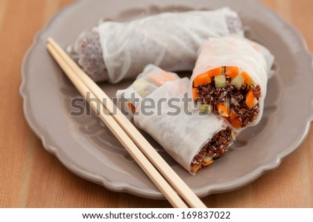 vietnamese spring rolls with quinoa and vegetables - stock photo