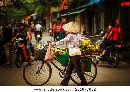 vietnamese vendor - stock photo