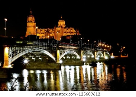 View a Salamanca cathedral night in Spain.