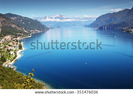 View above big beautiful lake, Como lake, Italy. - stock photo
