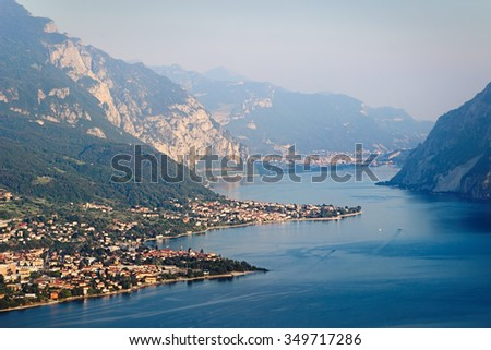 View above scenic Como lake and Alps in the evening, Italy. - stock photo