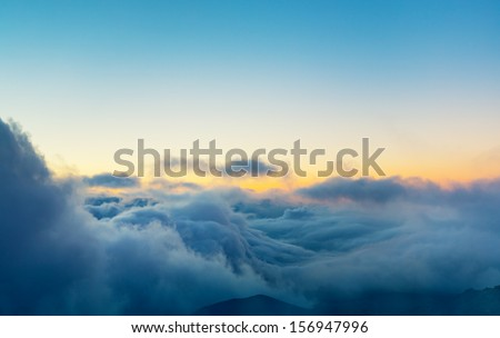 View Above the Clouds, Beautiful Sunset Cloudscape - stock photo