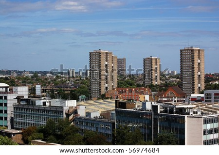 View across North West London The tower blocks of 'North Kensington' and in the foreground the 'Central Line' underground track.