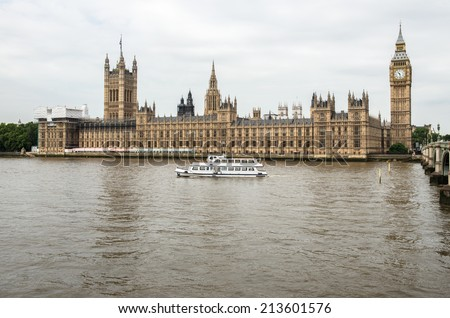 View across the River Thames of the Houses of Parliament in London, England - stock photo