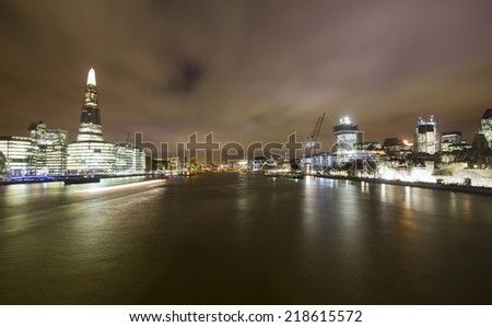 View across the Thames in London  - stock photo