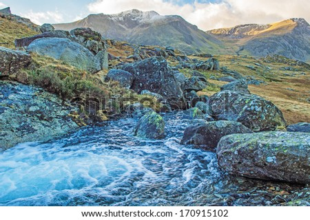 View across to Y Garn in Snowdonia - stock photo
