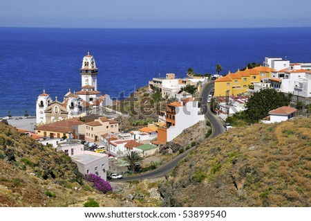 View aerial  the town of Candelaria with its famous basilica of the eastern part of Tenerife in the Spanish Canary Islands - stock photo
