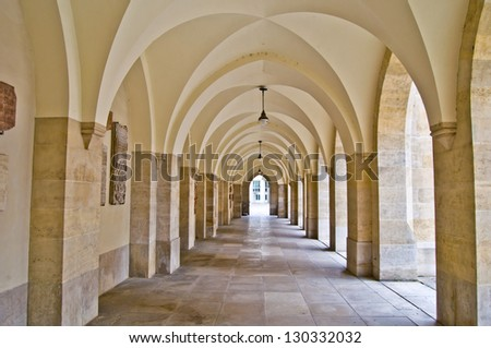 view along a long old colonade in Vienna