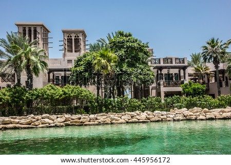 View along an Abra waterway in the Madinat Jumeirah hotel. Dubai, UAE. - stock photo