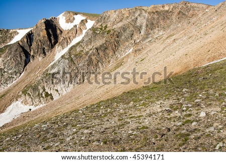 View along the Beartooth Highway. - stock photo