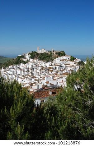 View along the River Guadalquivir towards the Mezquita, Cordoba, Cordoba Province, Andalusia, Spain, Western Europe. - stock photo