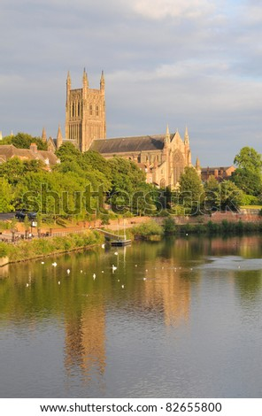 View along the Severn river in Worcester - stock photo