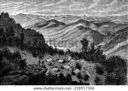 View and camp at night, on the road to Ban Muang Yang Con Ham, vintage engraved illustration. Le Tour du Monde, Travel Journal, (1872).  - stock photo