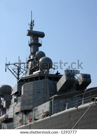 View at a battleship - stock photo