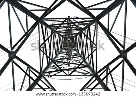 View at a high-voltage electricity pylon from directly below, which deconstructs the subject from its function and treats it as a mere sophisticated geometric abstract. Isolated on white background. - stock photo