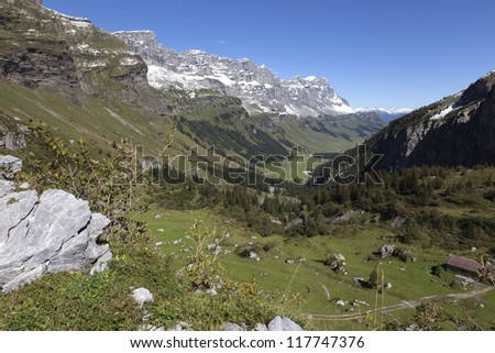 View at a valley in the Swiss alps