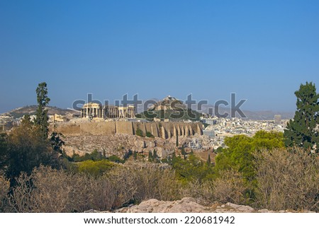 View at Acropolis and Lycabetus hill, Athens, Greece - stock photo